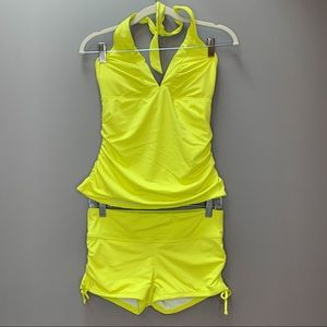 ATHLETA sunshine yellow tankini swim shorts set, S